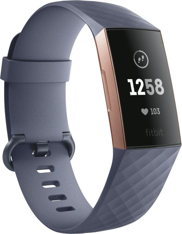 fitBit         Charge 3, blaugraues Armband                     Rosegold