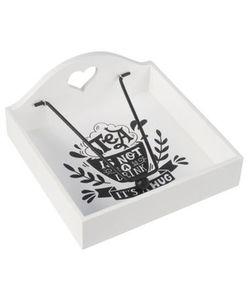 Serviettenhalter - Spruch, Metallbeschwerer - ca. 18,5 x 18,5 x 8 cm