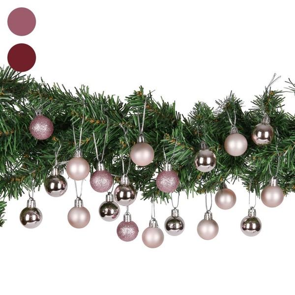 Weihnachtskugeln, 3 cm, 20er-Set, rosa,