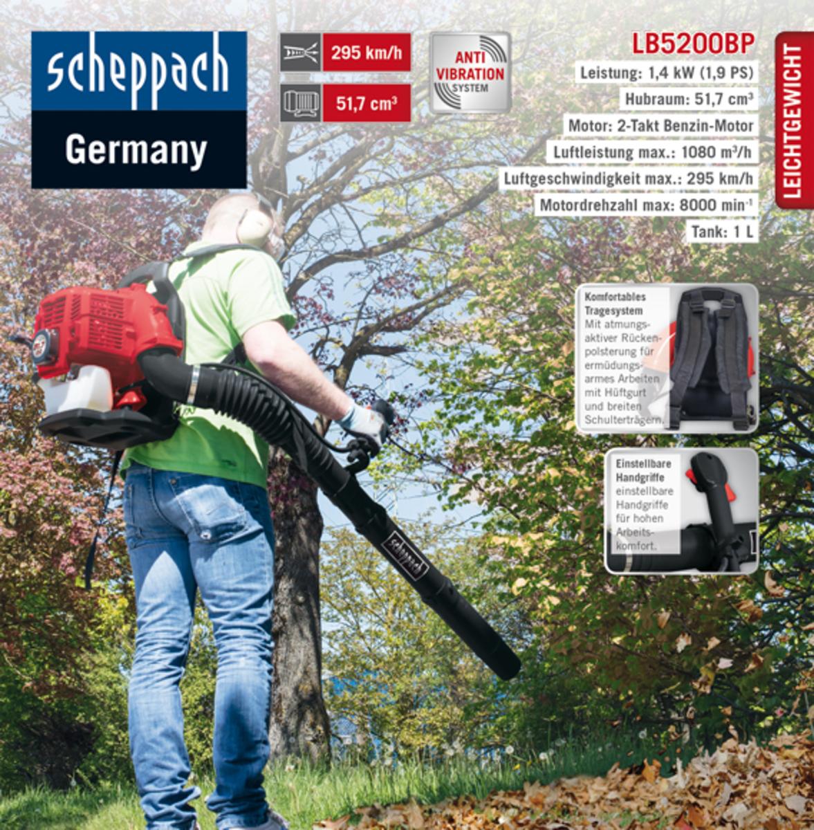 Bild 1 von Scheppach Backpack Laubbläser LB5200BP