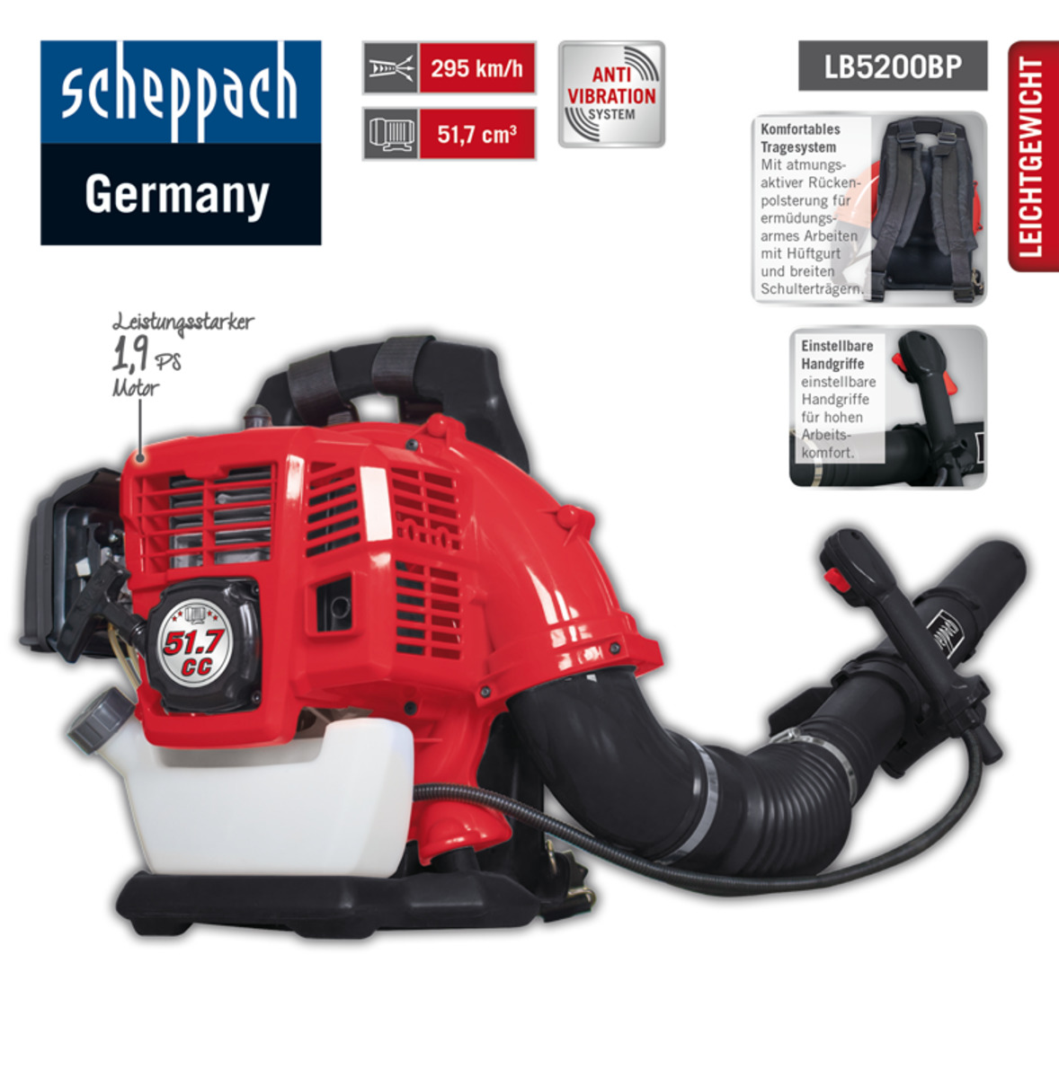 Bild 2 von Scheppach Backpack Laubbläser LB5200BP