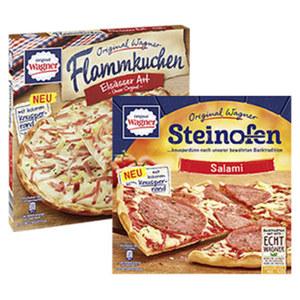 Original Wagner Steinofen Pizza gefroren, jede 320-g-Packung und weitere Sorten