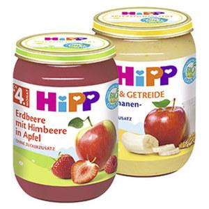 Hipp Früchte oder Frucht & Getreide ab 4./6. Monat, versch. Sorten,  jedes 190-g-Glas