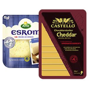 Arla Esrom oder Castello Cheddar Scheiben Dänischer oder Britischer Schnittkäse, 45/48/50 % Fett i. Tr., versch. Sorten, jede 150/140-g-Packung