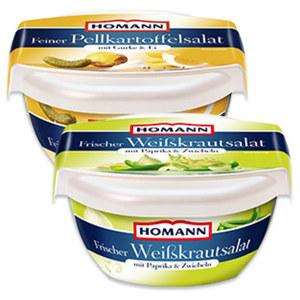 Homann Frischer Weißkrautsalat oder Feiner Pellkartoffelsalat und weitere Gemüsesalate, jede 400-g-Packung