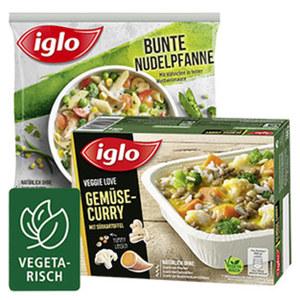 Iglo Fertiggerichte oder Veggie Love versch. Sorten, gefroren, jede 400-g-Packung / jeder 450-g-Beutel