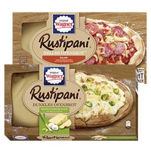 Original Wagner Rustipani Salami/Tomate-Basilikum 170 g oder Geräucherter Käse auf Ricotta Creme 175 g gefroren, jede Packung und weitere Sorten