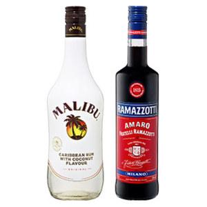 Malibu oder Ramazzotti 21/30 % Vol., jede 0,7-l-Flasche