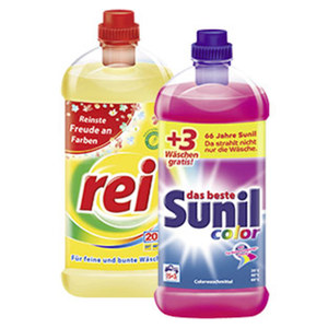 Sunil oder Rei Waschmittel 15+3/20 Waschladungen, versch. Sorten, jede Flasche/Packung