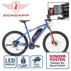 Alu-E-Mountainbike S100 - Fahrunterstützung bis ca. 25 km/h - Li-Ionen-Akku 36 V/10,4 Ah, 374 Wh - Reichweite: bis ca. 100 km (je nach Fahrweise) - wartungsfreier Hinterradmotor, 250 Watt - Shimano
