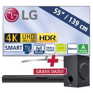 "55""-Ultra-HD-LED-TV 55UK7550LLA Magic-Remote-Ready, TV-Aufnahme über USB, H.265, Quad-Core, 4K Active HDR (HDR10 Pro, HLG), intelligente Sprachsteuerung möglich, 4 HDMI-/2-USB-Anschlüsse, CI+, Sta"