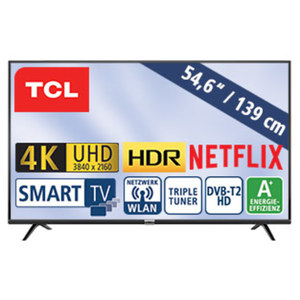 "55""-Ultra-HD-LED-TV 55DB600 HbbTV, H.265, HDR, Dual-Core, 3 HDMI-Eingänge, 2 USB-Anschlüsse, CI+, Stand-by: 0,26 Watt, Betrieb: 86 Watt, Maße: H 73,0 x B 124,2 x T 7,8 cm, Energie-Effizienz A+ (Sp"