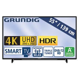 "55""-Ultra-HD-LED-TV 55GUB8888 HbbTV, H.265, Quad-Core, HDR, 3 HDMI-Eingänge, 2 USB-Anschlüsse, CI+, Stand-by: 0,45 Watt, Betrieb: 110 Watt, Maße: H 73,0 x B 124,0 x T 7,8 cm, Energie-Effizienz A ("