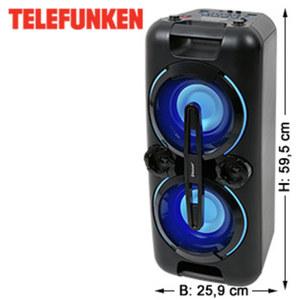 Bluetooth®-Party-Lautsprecher BS1017 mit UKW-Radio • Bass-Boost, USB-/ 3,5-mm-Klinken- Anschluss • 2 Mikrofon-Anschlüsse, integr. Akku