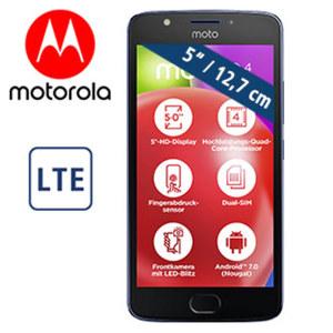 Smartphone Moto E4 · 2 Kameras (5 MP/8 MP) · 2 GB RAM · microSD™-Slot für bis zu 128 GB · Android™ 7.0