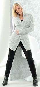Damen Long Cardigan mit Kapuze - Grau, Gr. S