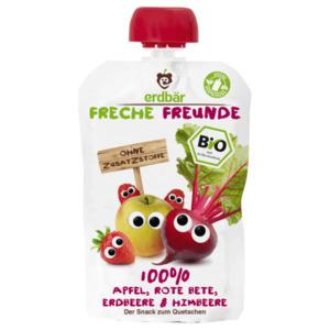 Erdbär Freche Freunde Bio 100% Apfel, Rote Bete, Erdbeere & Himbeere 100g