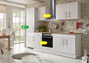 Respekta Premium Küchenzeile BERP270LHWC 270 cm Weiß-Lärche Nachbildung