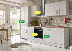 Respekta Premium Küchenzeile BERP280LHWC 280 cm Weiß-Lärche Nachbildung
