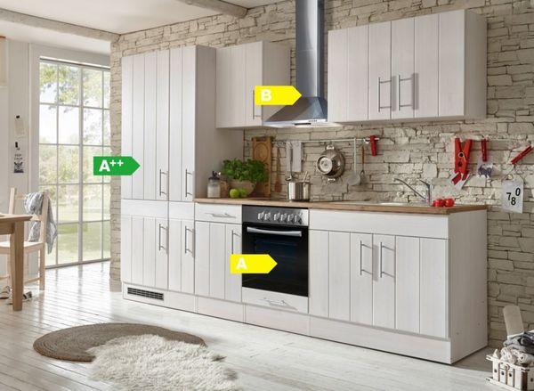 Respekta Premium Küchenzeile Berp300lhwc 300 Cm Weiß Lärche