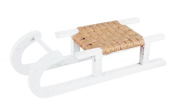 Deko-Schlitten - aus Holz - 30,5 x 11 x 7,5 cm - weiß