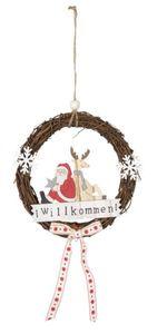 Deko-Kranz - Willkommen - Nikolaus, Rentier - aus Holz - Durchmesser ca. 19 cm