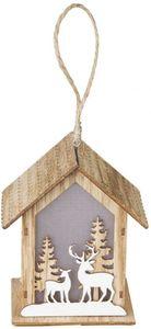 LED-Haus - aus Holz - 11 x 8,5 x 13 cm