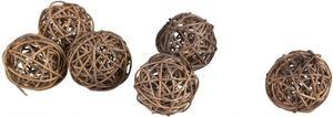 Rattankugeln - aus Holz - dunkelbraun - 6 Stück