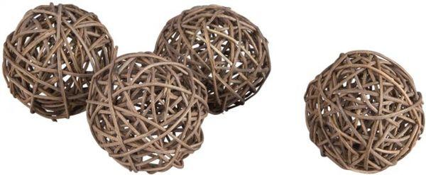 Rattankugeln - aus Holz - dunkelbraun - 4 Stück