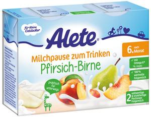 Alete Milchpause zum Trinken Pfirsich-Birne nach dem 6. Monat 2x 200 ml