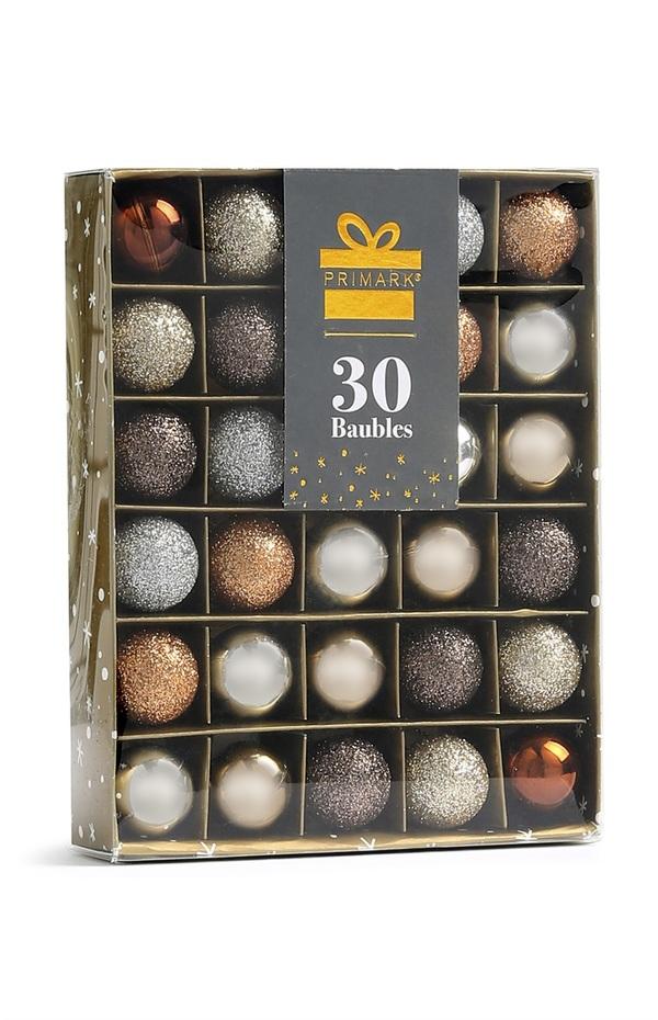 Baumkugeln in Metallic-Optik, 30 Stück