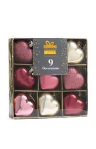 Herzförmige Deko in Rosa, 9er-Pack