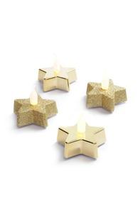 Sternförmiges Teelicht in Gold, 4er-Pack