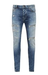 Blaue Skinny-Jeans im Used-Look