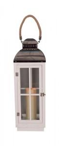 TrendLine LED Holzlaterne ,  weiss, schwarz, für den Innen-und Außenbereich