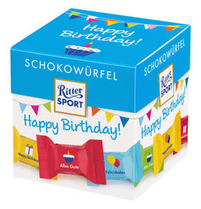 "RITTER SPORT             Schokowürfel ""Happy Birthday"", 176g Würfel gratis"