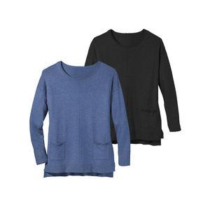 Laura Torelli Classic Damen-Pullover mit 2 aufgesetzten Taschen
