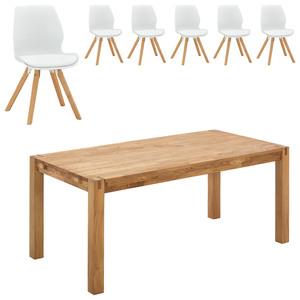 Essgruppe Royal Oak/Bogense (90x180, 6 Stühle, weiß)
