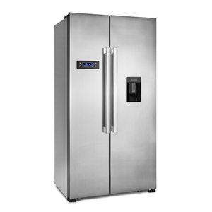 MEDION Side-by-Side Kühl- und Gefrierschrank MD 37250, 514l Fassungsvermögen, integrierter Wassertank