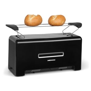 TEC STAR Toaster MD 15709, 1.200 bis 1.400 Watt, zwei Langschlitze, Aufwärm-, Auftau- und Stopptaste, Bräunungsgrad-Regler