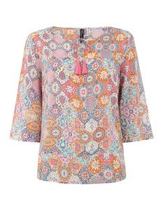 Damen Blusenshirt mit Allover-Muster