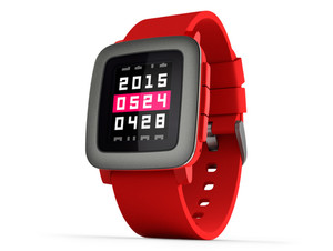 Pebble Time, Smartwatch & Fitnesstracker für iOS/Android, Bluetooth 4.0, rot