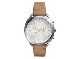 FOSSIL Q Accomplice, Hybrid Smartwatch, mit Lederarmband, silber