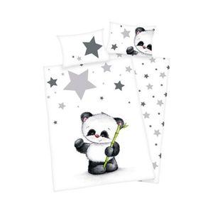 HERDING   Biber-Bettwäsche Panda 40x60 / 100x135 cm