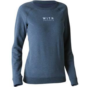 Sweatshirt 500 Gym Stretching Damen dunkelblaumeliert