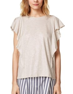 Esprit - Shirt im Glitzer-Look mit Volants an den Schultern