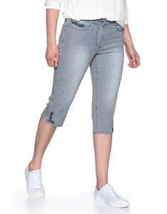 Via Cortesa - Streifen-Capri-Jeans mit Stickerei