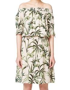Esprit - Kleid mit Blätter-Druck und Carmenausschnitt