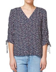 Esprit - leichte Print-Bluse mit gerafften Ärmeln