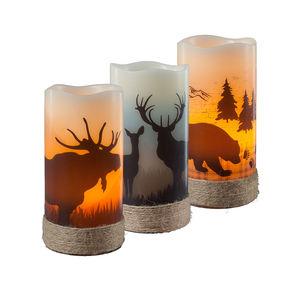 LED-Kerze mit Wild-Motiv, ca. 8x15cm
